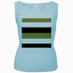Black Brown Gold White Horizontal Stripes Elegant 8000 Sv Festive Stripe Women s Baby Blue Tank Top