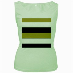 Black Brown Gold White Horizontal Stripes Elegant 8000 Sv Festive Stripe Women s Green Tank Top