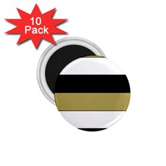 Black Brown Gold White Horizontal Stripes Elegant 8000 Sv Festive Stripe 1.75  Magnets (10 pack)