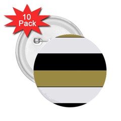 Black Brown Gold White Horizontal Stripes Elegant 8000 Sv Festive Stripe 2.25  Buttons (10 pack)