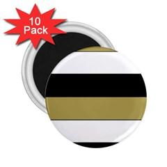 Black Brown Gold White Horizontal Stripes Elegant 8000 Sv Festive Stripe 2.25  Magnets (10 pack)