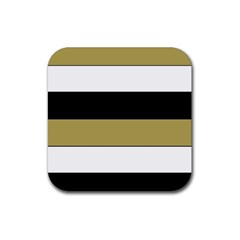 Black Brown Gold White Horizontal Stripes Elegant 8000 Sv Festive Stripe Rubber Coaster (Square)