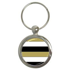 Black Brown Gold White Horizontal Stripes Elegant 8000 Sv Festive Stripe Key Chains (Round)