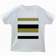 Black Brown Gold White Horizontal Stripes Elegant 8000 Sv Festive Stripe Kids White T-Shirts