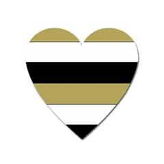 Black Brown Gold White Horizontal Stripes Elegant 8000 Sv Festive Stripe Heart Magnet