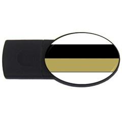 Black Brown Gold White Horizontal Stripes Elegant 8000 Sv Festive Stripe USB Flash Drive Oval (1 GB)