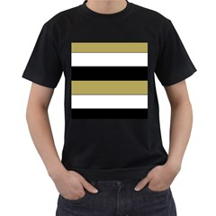 Black Brown Gold White Horizontal Stripes Elegant 8000 Sv Festive Stripe Men s T-Shirt (Black) (Two Sided)