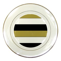 Black Brown Gold White Horizontal Stripes Elegant 8000 Sv Festive Stripe Porcelain Plates