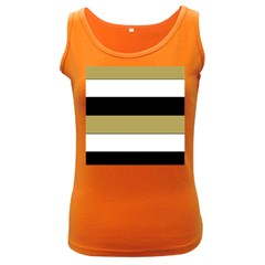 Black Brown Gold White Horizontal Stripes Elegant 8000 Sv Festive Stripe Women s Dark Tank Top