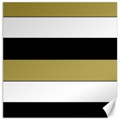 Black Brown Gold White Horizontal Stripes Elegant 8000 Sv Festive Stripe Canvas 12  x 12