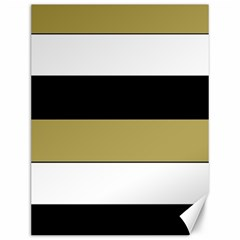 Black Brown Gold White Horizontal Stripes Elegant 8000 Sv Festive Stripe Canvas 12  x 16
