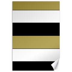 Black Brown Gold White Horizontal Stripes Elegant 8000 Sv Festive Stripe Canvas 12  x 18