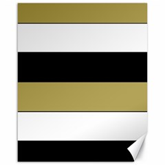 Black Brown Gold White Horizontal Stripes Elegant 8000 Sv Festive Stripe Canvas 16  x 20