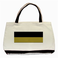 Black Brown Gold White Horizontal Stripes Elegant 8000 Sv Festive Stripe Basic Tote Bag (Two Sides)