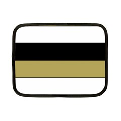 Black Brown Gold White Horizontal Stripes Elegant 8000 Sv Festive Stripe Netbook Case (Small)