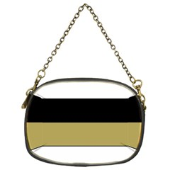 Black Brown Gold White Horizontal Stripes Elegant 8000 Sv Festive Stripe Chain Purses (one Side)