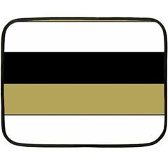 Black Brown Gold White Horizontal Stripes Elegant 8000 Sv Festive Stripe Double Sided Fleece Blanket (Mini)
