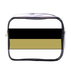 Black Brown Gold White Horizontal Stripes Elegant 8000 Sv Festive Stripe Mini Toiletries Bags