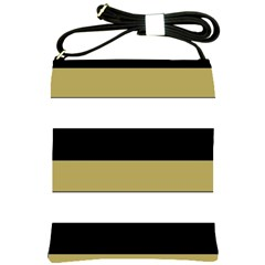 Black Brown Gold White Horizontal Stripes Elegant 8000 Sv Festive Stripe Shoulder Sling Bags