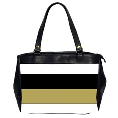 Black Brown Gold White Horizontal Stripes Elegant 8000 Sv Festive Stripe Office Handbags (2 Sides)