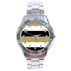 Black Brown Gold White Horizontal Stripes Elegant 8000 Sv Festive Stripe Stainless Steel Analogue Watch