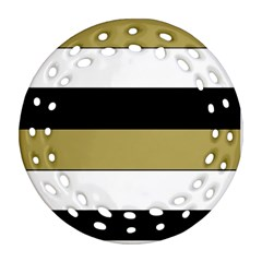 Black Brown Gold White Horizontal Stripes Elegant 8000 Sv Festive Stripe Ornament (Round Filigree)