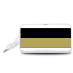 Black Brown Gold White Horizontal Stripes Elegant 8000 Sv Festive Stripe Portable Speaker (White)