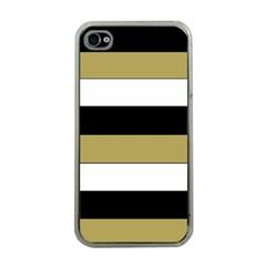 Black Brown Gold White Horizontal Stripes Elegant 8000 Sv Festive Stripe Apple iPhone 4 Case (Clear)