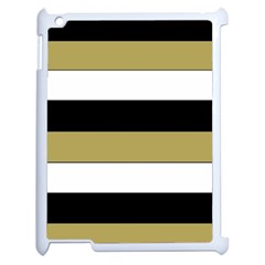 Black Brown Gold White Horizontal Stripes Elegant 8000 Sv Festive Stripe Apple iPad 2 Case (White)