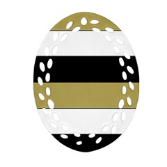 Black Brown Gold White Horizontal Stripes Elegant 8000 Sv Festive Stripe Ornament (Oval Filigree)