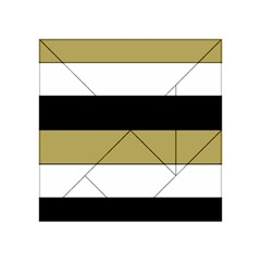 Black Brown Gold White Horizontal Stripes Elegant 8000 Sv Festive Stripe Acrylic Tangram Puzzle (4  x 4 )