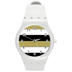 Black Brown Gold White Horizontal Stripes Elegant 8000 Sv Festive Stripe Round Plastic Sport Watch (M)