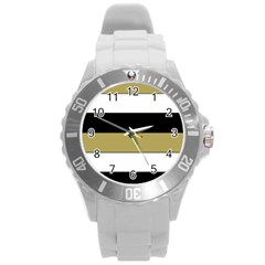 Black Brown Gold White Horizontal Stripes Elegant 8000 Sv Festive Stripe Round Plastic Sport Watch (L)