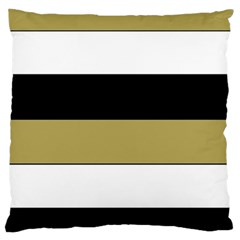 Black Brown Gold White Horizontal Stripes Elegant 8000 Sv Festive Stripe Large Cushion Case (One Side)