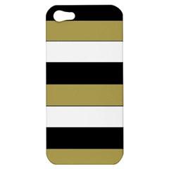 Black Brown Gold White Horizontal Stripes Elegant 8000 Sv Festive Stripe Apple iPhone 5 Hardshell Case