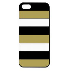 Black Brown Gold White Horizontal Stripes Elegant 8000 Sv Festive Stripe Apple iPhone 5 Seamless Case (Black)