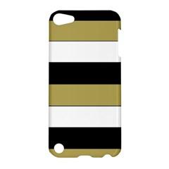 Black Brown Gold White Horizontal Stripes Elegant 8000 Sv Festive Stripe Apple iPod Touch 5 Hardshell Case