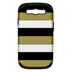 Black Brown Gold White Horizontal Stripes Elegant 8000 Sv Festive Stripe Samsung Galaxy S III Hardshell Case (PC+Silicone)