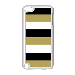Black Brown Gold White Horizontal Stripes Elegant 8000 Sv Festive Stripe Apple iPod Touch 5 Case (White)