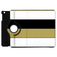 Black Brown Gold White Horizontal Stripes Elegant 8000 Sv Festive Stripe Apple iPad Mini Flip 360 Case