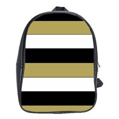 Black Brown Gold White Horizontal Stripes Elegant 8000 Sv Festive Stripe School Bags (XL)