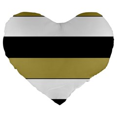 Black Brown Gold White Horizontal Stripes Elegant 8000 Sv Festive Stripe Large 19  Premium Heart Shape Cushions