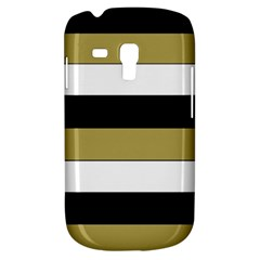 Black Brown Gold White Horizontal Stripes Elegant 8000 Sv Festive Stripe Galaxy S3 Mini