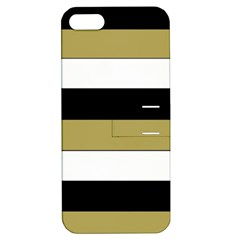 Black Brown Gold White Horizontal Stripes Elegant 8000 Sv Festive Stripe Apple iPhone 5 Hardshell Case with Stand