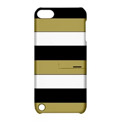 Black Brown Gold White Horizontal Stripes Elegant 8000 Sv Festive Stripe Apple iPod Touch 5 Hardshell Case with Stand