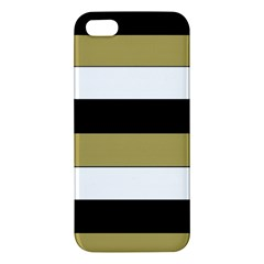 Black Brown Gold White Horizontal Stripes Elegant 8000 Sv Festive Stripe Apple iPhone 5 Premium Hardshell Case