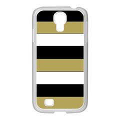 Black Brown Gold White Horizontal Stripes Elegant 8000 Sv Festive Stripe Samsung GALAXY S4 I9500/ I9505 Case (White)