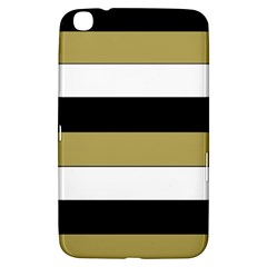 Black Brown Gold White Horizontal Stripes Elegant 8000 Sv Festive Stripe Samsung Galaxy Tab 3 (8 ) T3100 Hardshell Case