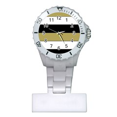 Black Brown Gold White Horizontal Stripes Elegant 8000 Sv Festive Stripe Plastic Nurses Watch