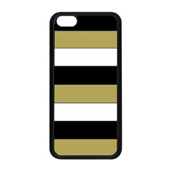 Black Brown Gold White Horizontal Stripes Elegant 8000 Sv Festive Stripe Apple iPhone 5C Seamless Case (Black)